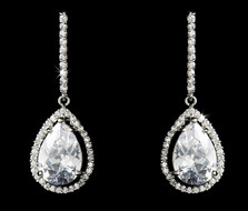 Cubic Zirconia Drop Bridal Earrings