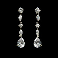 Cubic Zirconia Drop Bridal Earrings e9011