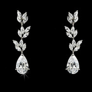 Couture Cubic Zirconia Vine Bridal Earrings