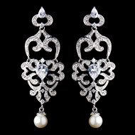 Diamond White Pearl and CZ Wedding Chandelier Earrings