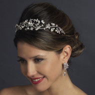 Diamond White Pearl and Crystal Wedding Tiara Headband