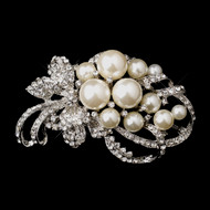White or Ivory Pearl Wedding Brooch and Comb - sale!