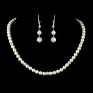 Diamond White Pearl Wedding Necklace and Drop Earrings