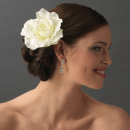 Diamond White Ravish Rose Bridal Hair Flower Clip