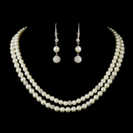 Double Strand Diamond White Pearl Wedding Jewelry Set