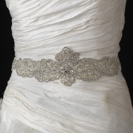 Elaborate Rhinestone Beaded Wedding Dress Belt Sash