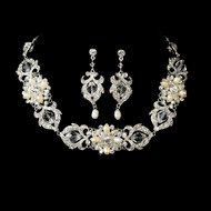 Elaborate Freshwater Pearl and Crystal Bridal Jewelry