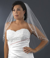 Elbow Length Bridal Veil with Silver Embroidered Edge
