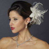 Ivory Feather Fascinator Flower Wedding Hair Clip