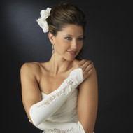 Fingerless Bridal Gloves with Sheer Embroidery