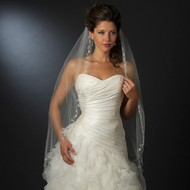 Fingertip Bridal Veil with Beaded Silver Embroidery Edge