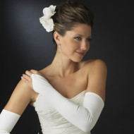 Fingerless Opera Length Matte Satin Bridal Gloves
