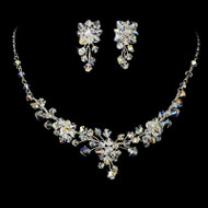 Floral AB Swarovski Crystal Bridal Jewelry Set