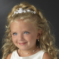 Floral Crystal and Pearl Flower Girl Tiara