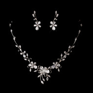Floral Cubic Zirconia Wedding Jewelry Set