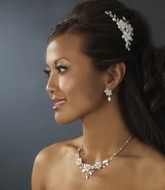 Floral Frosted Crystal Comb and Bridal Jewelry Set