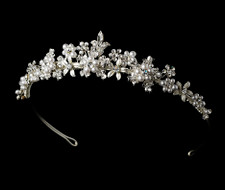 Floral Garden Silver Plated White Pearl Tiara