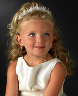Flower Girl Pearl and Crystal Headpiece with Matching Jewelry Set