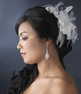 Feather and Pearl Wedding Hair Flower Bridal Fascinator