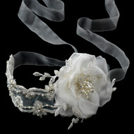 Beaded Flower and Ribbon Wedding Headband and Belt