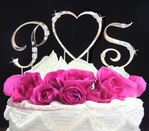 Initials and Heart Wedding Cake Toppers