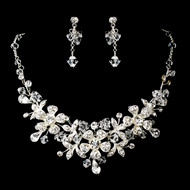 Floral Bouquet Rhinestone and Crystal Jewelry Set
