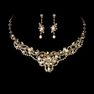 Freshwater Pearl and Crystal Gold Plated Wedding Jewelry & Freshwater Pearl and CZ Gold or Rose Gold Wedding Jewelry Set