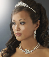 Freshwater Pearl and Crystal Tiara and Bridal Jewelry Set