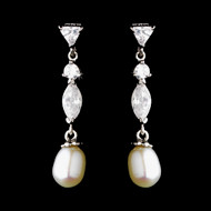 Freshwater Pearl and Cubic Zirconia Bridal Earrings