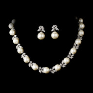 Elegant Diamond White Pearl and CZ Wedding Jewelry Set