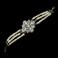 Freshwater Pearl and Crystal Vintage Wedding Bracelet