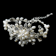 Freshwater Pearl and Rhinestone Wedding Bracelet