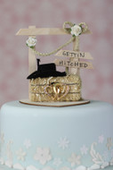 """Gettin Hitched"" Western Country Cowboy Cake Topper"