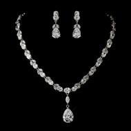 Glamorous Cubic Zirconia Pendant Wedding Jewelry Set