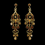 Gold Chandelier Earrings with Topaz Rhinestones