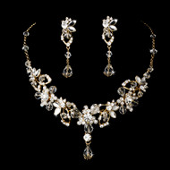 Couture Gold Plated Crystal Vine Bridal Jewelry Set