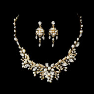 Gold Floral Fantasy Freshwater Pearl Bridal Jewelry Set