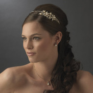 Gold Pearl and Crystal Floral Side Accent Headband