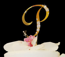 Large Gold Plated Crystal Accented Wedding Cake Toppers