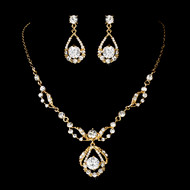 Gold Plated Rhinestone Wedding Jewelry Set