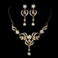 Gold Plated Filigree Heart Bridal Jewelry Set