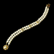 Gold Plated Ivory Pearl large Bridal Bracelet