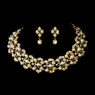 Gold Plated Ivory Pearl Bridal Jewelry Set 969gld