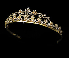 Gold Plated Ivory Pearl Wedding Tiara