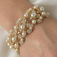 Gold Plated Pearl and Rhinestone Bridal Bracelet