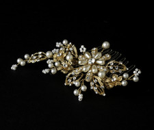 Gold Plated Pearl Floral Bridal Comb