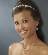 Gold Plated Wedding Tiara Plus Bridal Jewelry Set