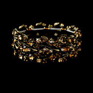 Gold Stretch Bracelet with Topaz Rhinestones
