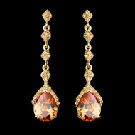 Gold Topaz Rhinestone Teardrop Dangle Earrings
