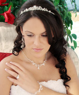 Heart Theme Crystal Wedding Tiara and Jewelry Set